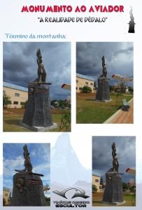 Escultura de sete metros(pedestal e escultura), feita manualmente em concreto armado, para Chapadão do Sul. MS. Brasil.